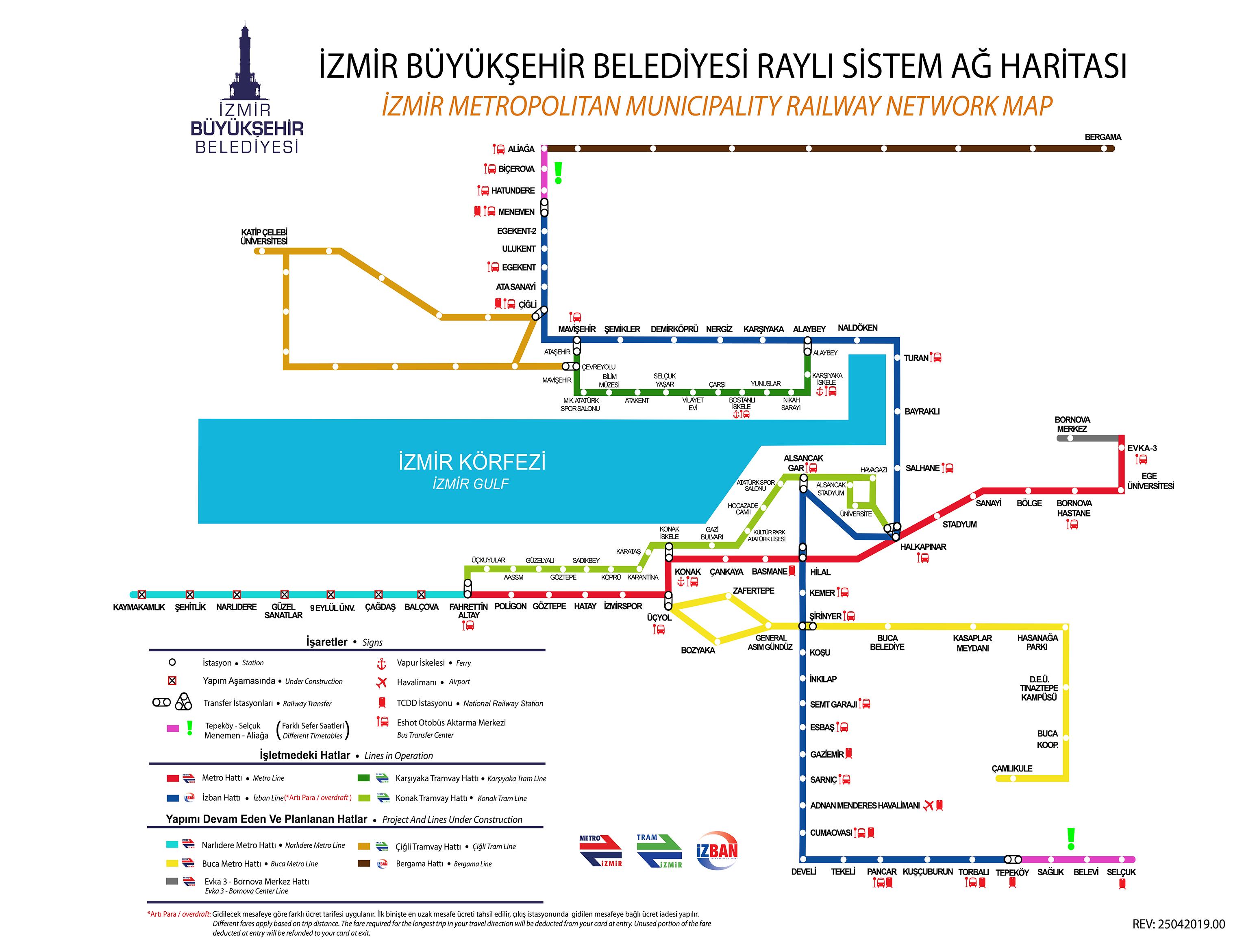 izmir raylı sistem haritası (metro, izban, tramvay)
