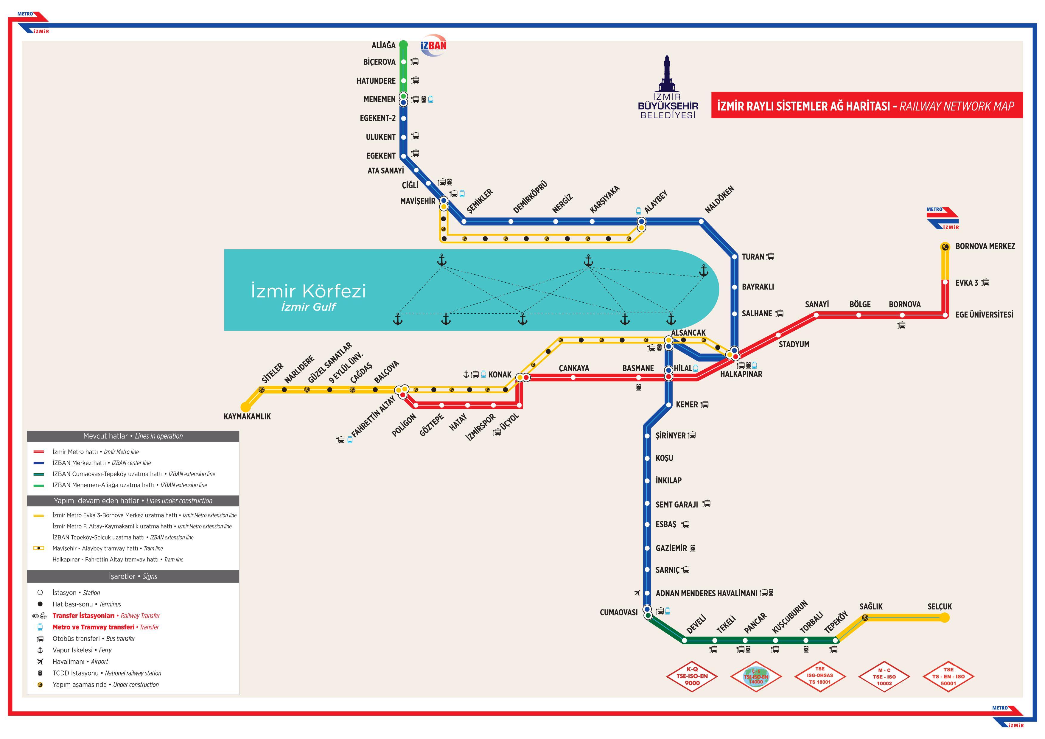 Izmir metro map Turkey