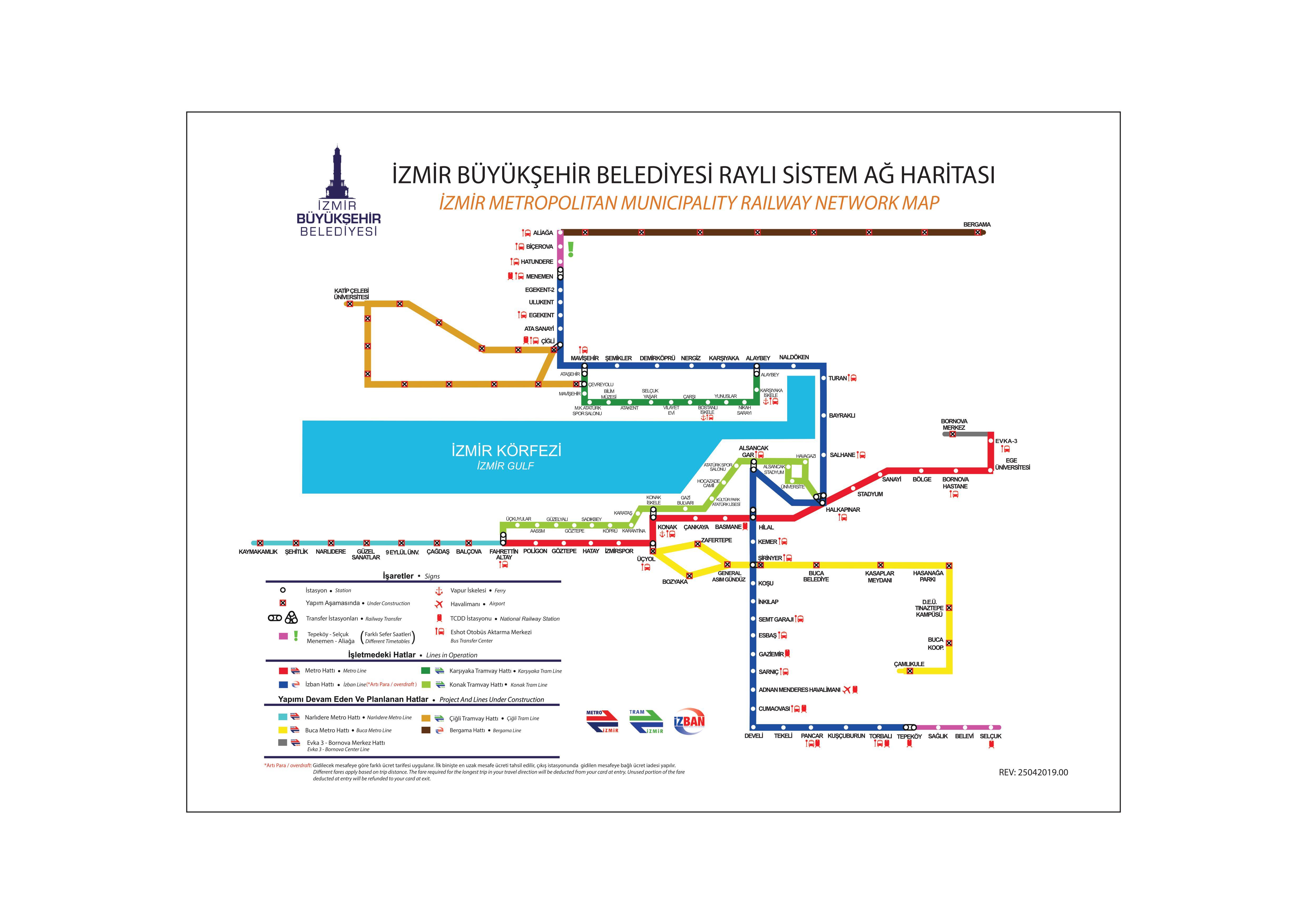 İzmir raylı sistem haritası